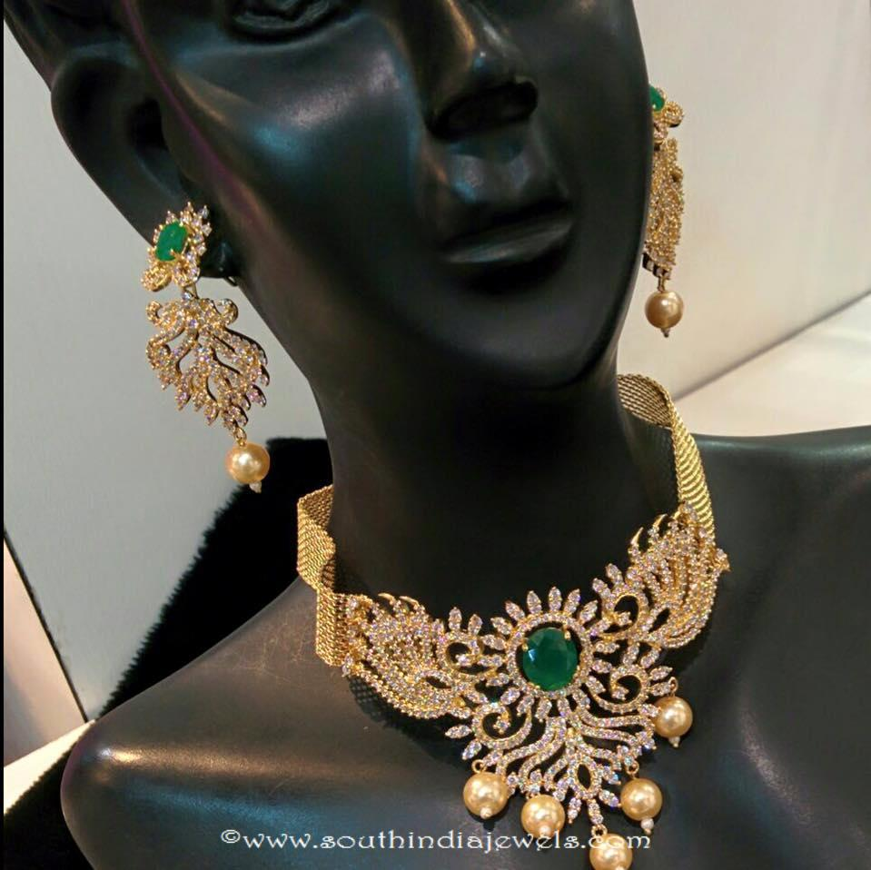 1 gram gold emerald necklace set south india jewels 1 gram gold emerald necklace set aloadofball Image collections