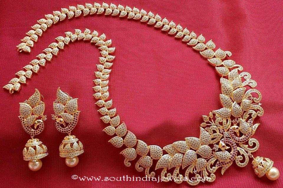 1 gram gold leaf necklace set with jhumka