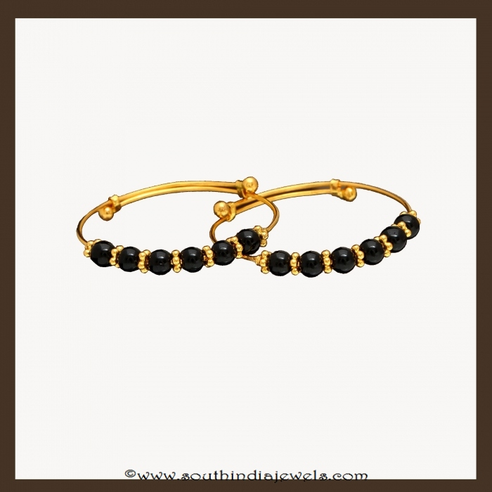 22k gold black bead baby bangles by VBJ