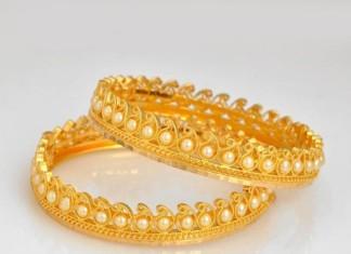 22k gold pearl bangle kangans
