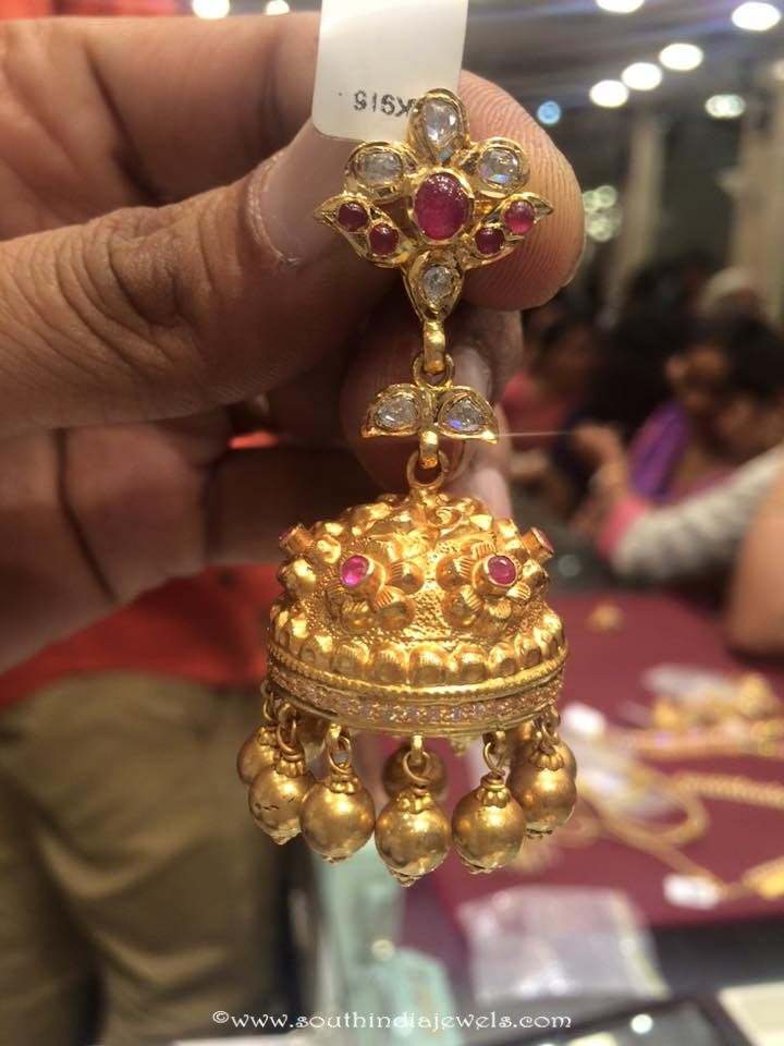33 Grams weight gold ruby jhumki