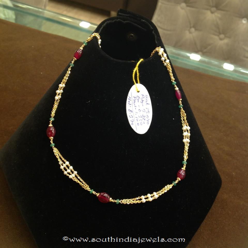 8 Grams Gold Ruby Beaded Chain