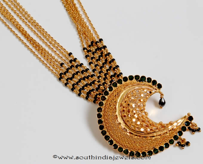 Gold black bead wedding mangalsutra from pnadgil jewellers