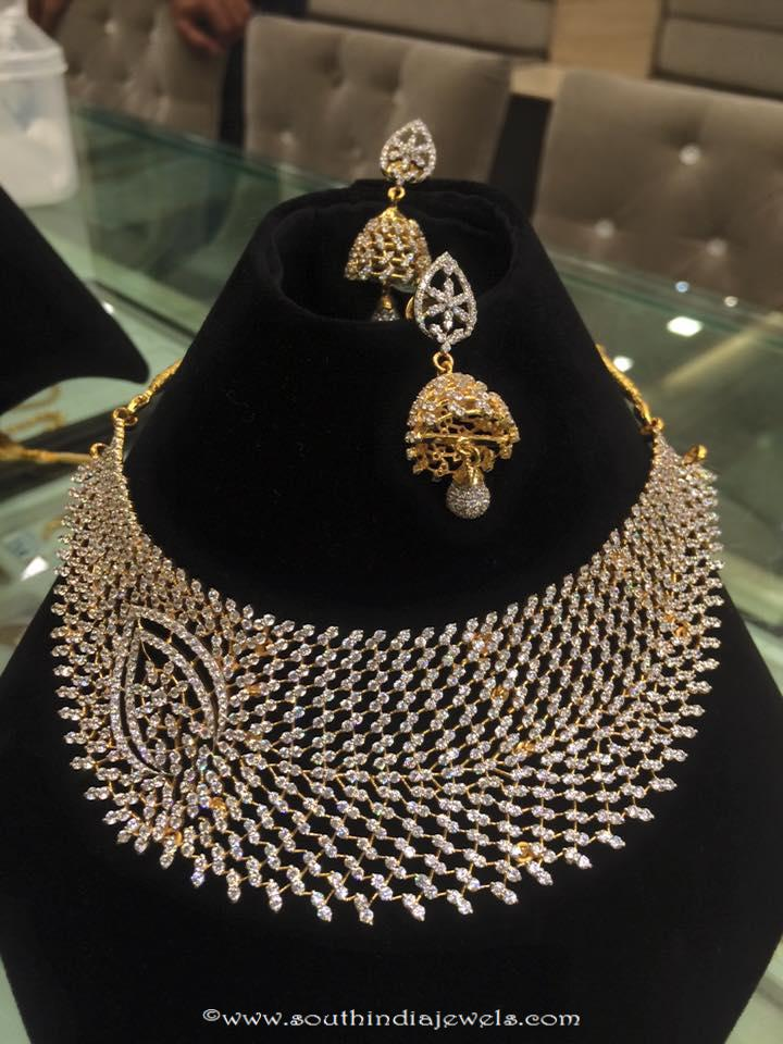 Designer Diamond Necklace Set with Jhumka