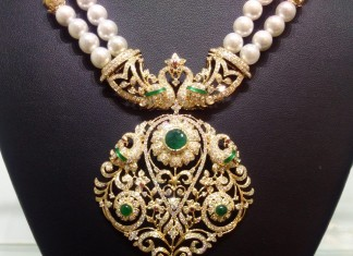 Diamond Pearl Mala with Peacock Pendant