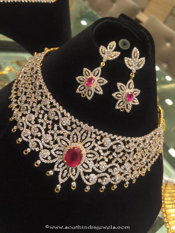Diamond Ruby Necklace Set from PSJ