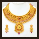 Gold Bridal Attigai Necklace Set From VBJ