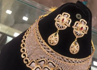 gold Designer Necklace with earrings