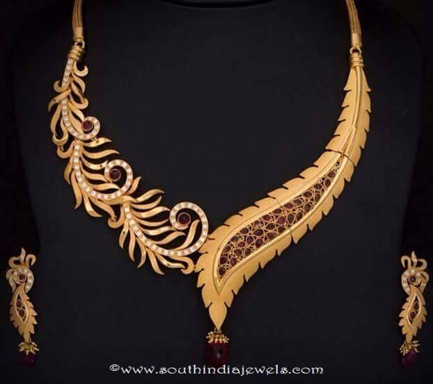 gold designer ruby leaf necklace south india jewels