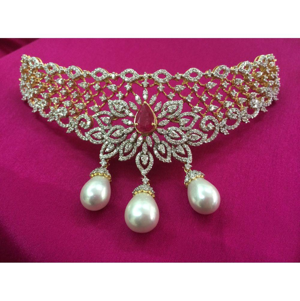Gold Diamond Necklace Set with ruby from Kothari Jewellery