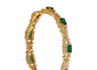 Gold Emearld Bangle from Prince Jewellery