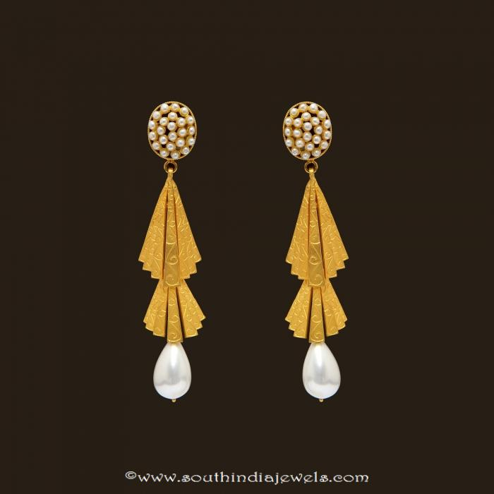 Gold Pearl Danglers from VBJ