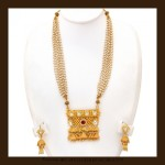 Gold Long Pearl necklace Set From VBJ