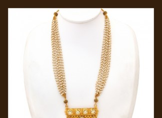 Gold Pearl Long Necklace Set from VBJ