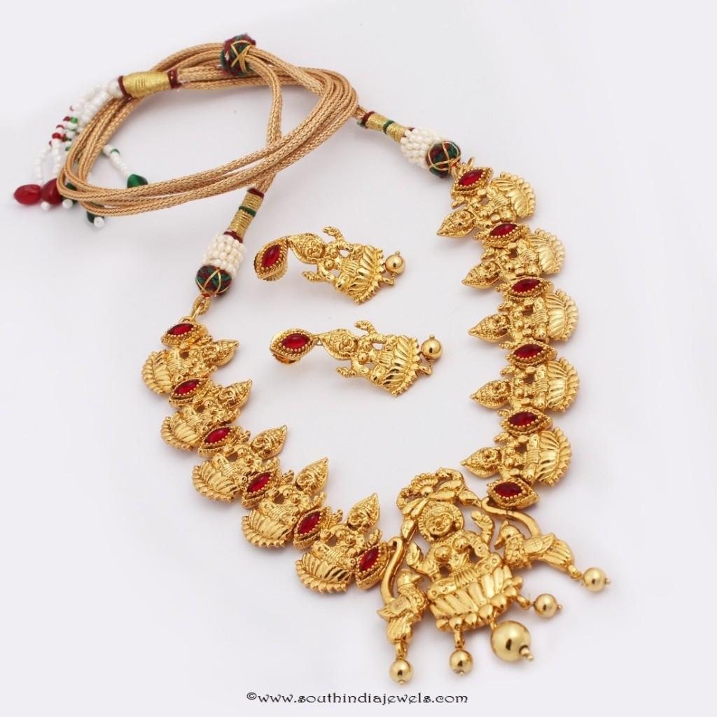 Gold Plated Lakshmi Temple Necklace