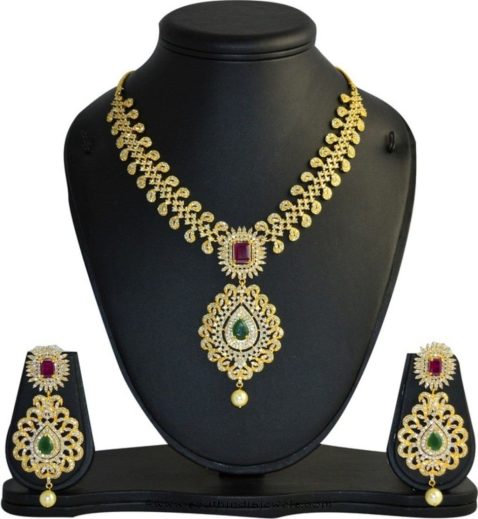 Gold plated multi color CZ Stone necklace set
