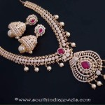 Gold Plated Stone Necklace and Jhumka