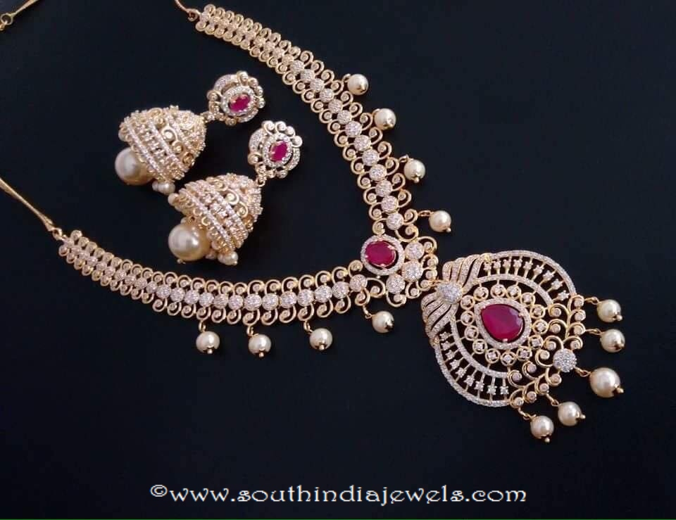 Gold plated stone necklace with jhumka