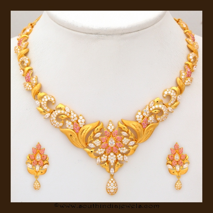 22k gold simple gold necklace design for inquiries please contact the - Gold Stone Necklace Set By Vbj South India Jewels