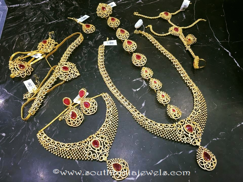 Imitation Ruby Bridal Jewellery Set ~ South India Jewels
