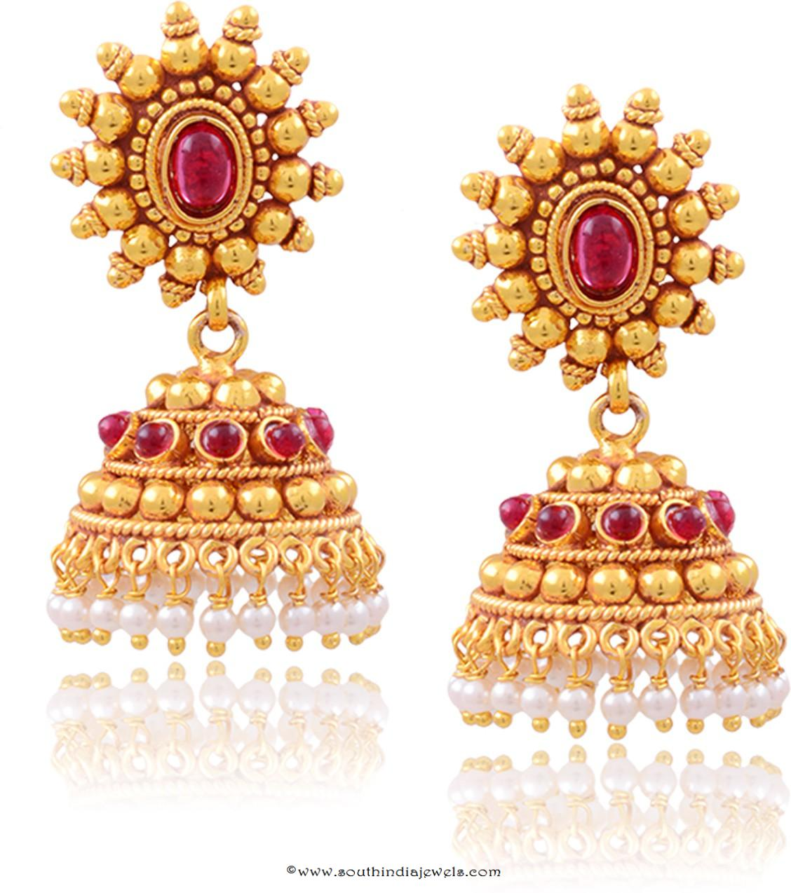 Buy Online Imitation Ruby Jhumka South India Jewels
