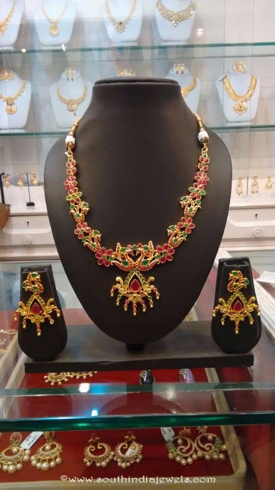 Imitation Ruby Peacock Necklace