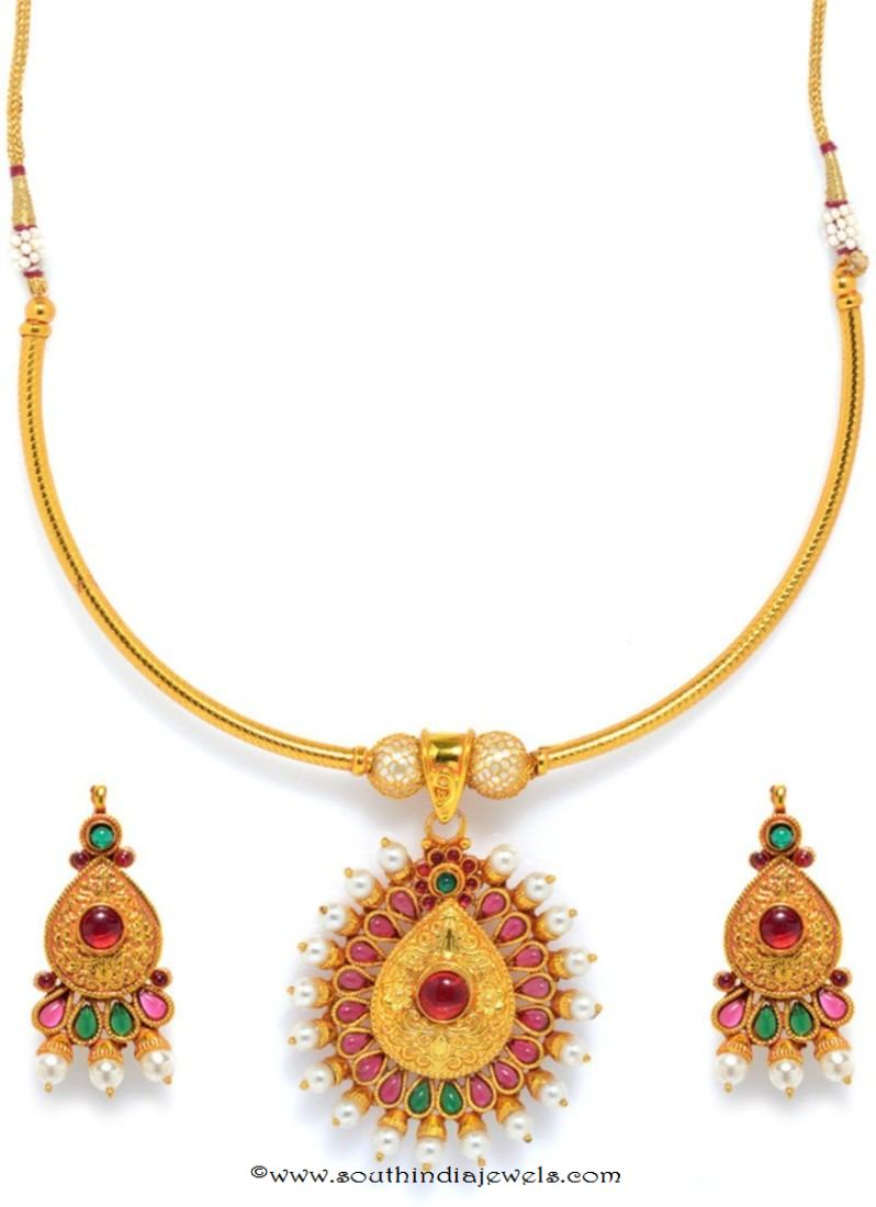 e36e28186c One Gram Gold Attigai Necklace with Price ~ South India Jewels