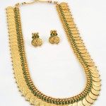 One Gram Gold Long Kasumalai with Green Stones