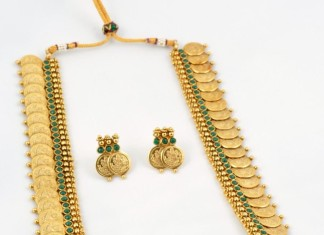 One Gram Gold Antique Long Kasumalai Necklace