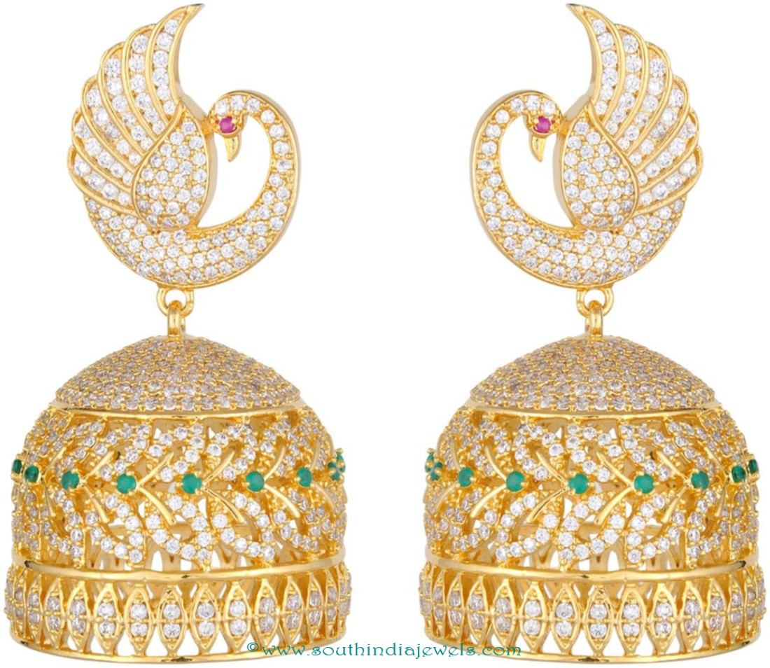 one gram gold jhumki south india jewels