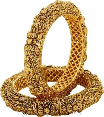 Yellow gold plated antique bangles
