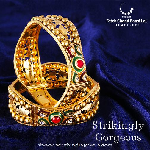 Beautiful Gold Kundan Bangle From FCBL Jewellers