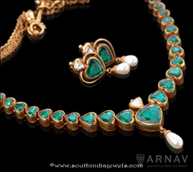 Gold Green Stone Emerald Necklace from Arnav
