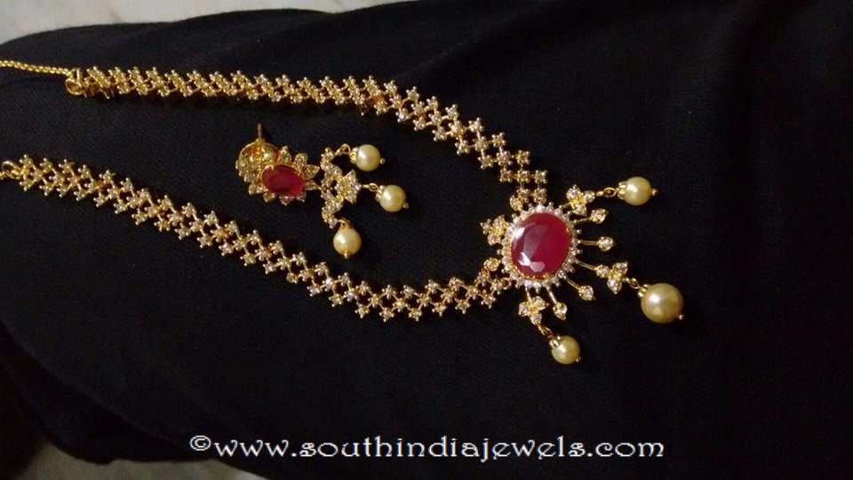 Gold Plated Ruby Necklace Set ~ South India Jewels