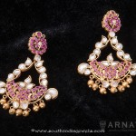 Gold Kundan Ruby Earrings from Arnav