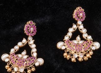 Gold Ruby Kundan Earrings from Arnav