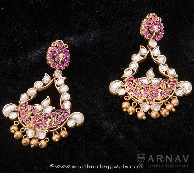 Gold Ruby Kundan Earrings from Arnav