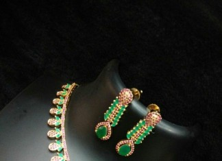Latest Model Ruby Emeerald Necklace Set with earrings