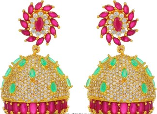 Gold Plated Multi Color Stone Jhumka