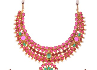 1 Gram Gold Ruby Choker necklace with jhumka