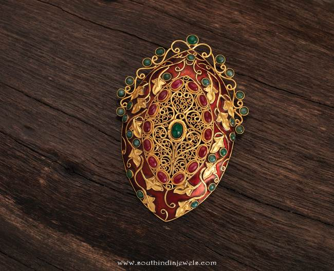 22k gold ruby pendant from Karpagam Jewellers