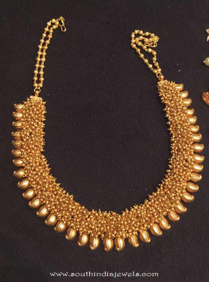 90 Grams Gold Clustered Beads Necklace South India Jewels