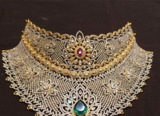gold bridal cz stone choker necklace premraj