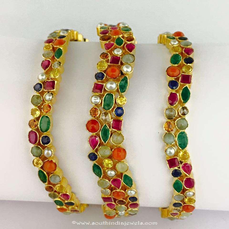 Gold Navarathna Bangles from Boorugu Bros Jewellers