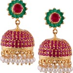 Gold Plated Ruby Emerald Jhumka