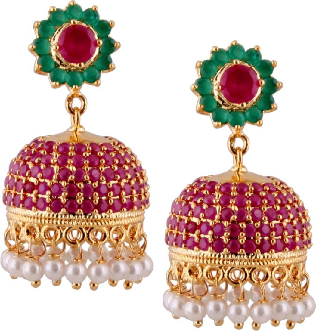 Gold Plated Ruby Emerald Jhumka ~ South India Jewels