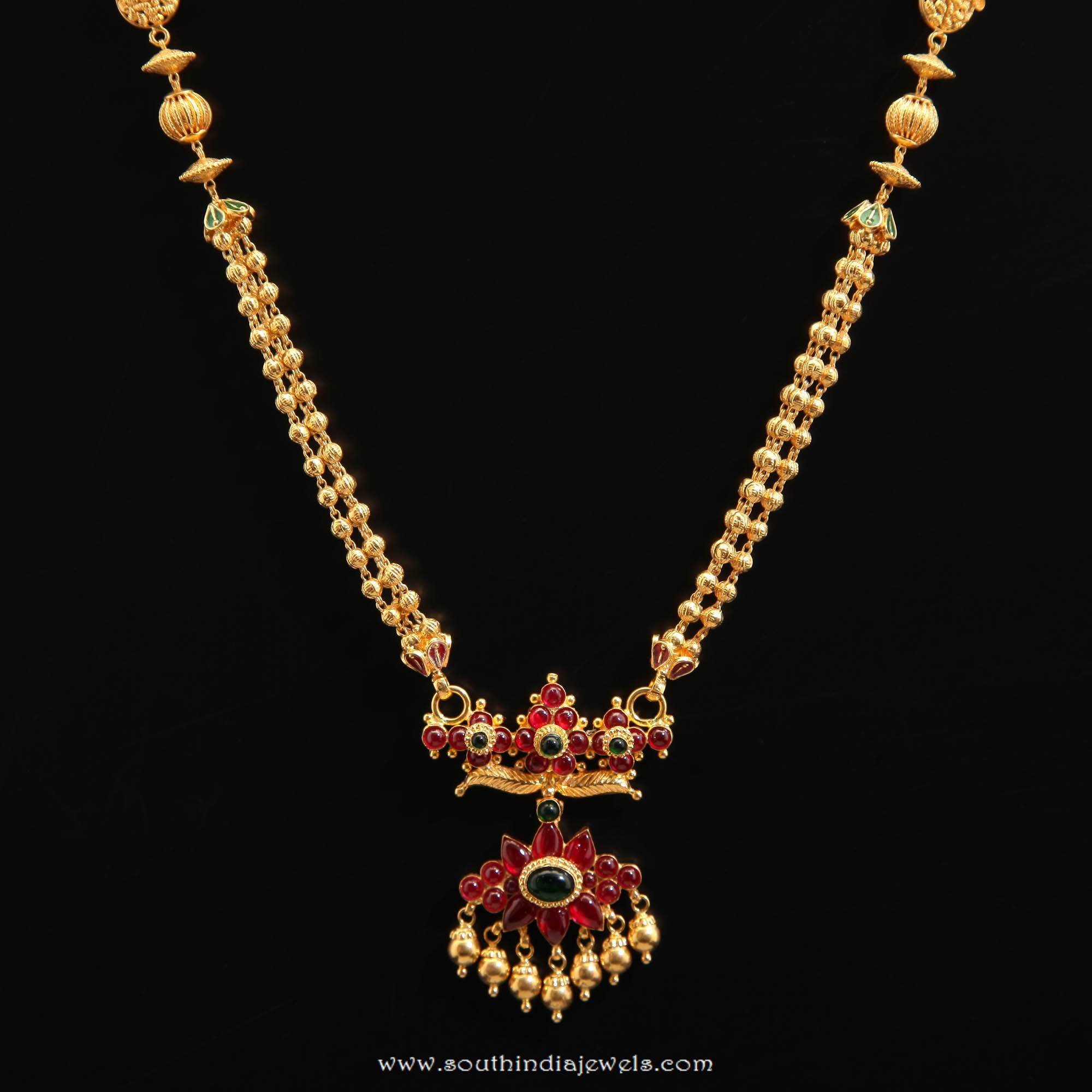 Gold Short Necklace From D.A.R Jewellers ~ South India Jewels