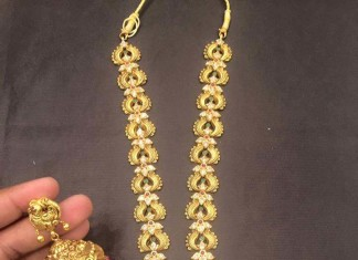 Gold Antique Long Necklace wwith Jhumki