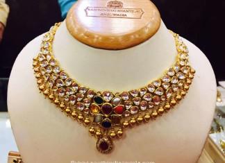 Gold Kundan Navarathna necklace