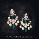 Gold Pearl Emerald Earrings